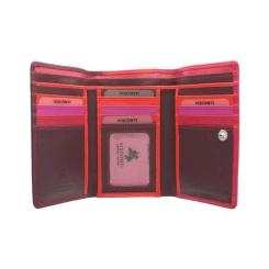 Розовый женский кожаный кошелек, модель в три сложения от Visconti, арт. RB43 Plum Multi