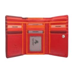 Красный женский кожаный кошелек с яркими вставками внутри от Visconti, арт. RB43 Red Multi