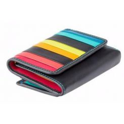 Складной женский кошелек из черной натуральной кожи с яркими полосками от Visconti, арт. STR3 Black Multi