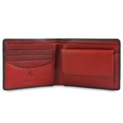 Мужское портмоне из черной натуральной кожи с красной вставкой внутри от Visconti, арт. TR30 Black Red