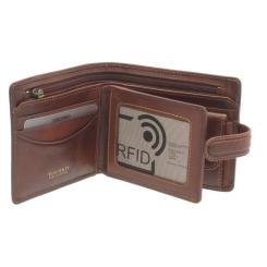 Практичное мужское портмоне из матовой натуральной кожи с фирменным оттиском от Visconti, арт. TSC42 Tan