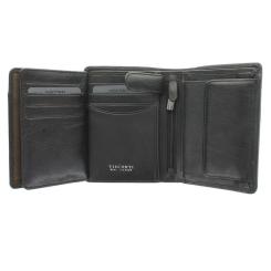 Компактное раскладное портмоне из натуральной кожи с узким клапаном и кнопкой от Visconti, арт. TSC44 Black