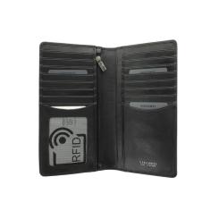 Большое вертикальное портмоне из натуральной кожи для кредиток и купюр от Visconti, арт. TSC45 Black