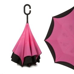 Женский механический зонт розового цвета с оригинальной конструкцией от Zemsa, арт. 120004/1 ZM